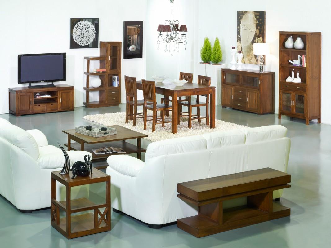 Mesa rinconera con estantes madera de acacia color nogal for Mesa rinconera comedor