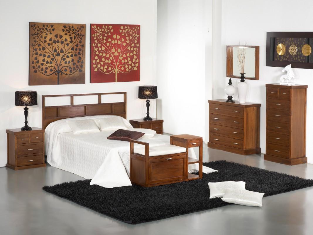 Cabecero cama matrimonio de 160 cm color nogal madera de acacia