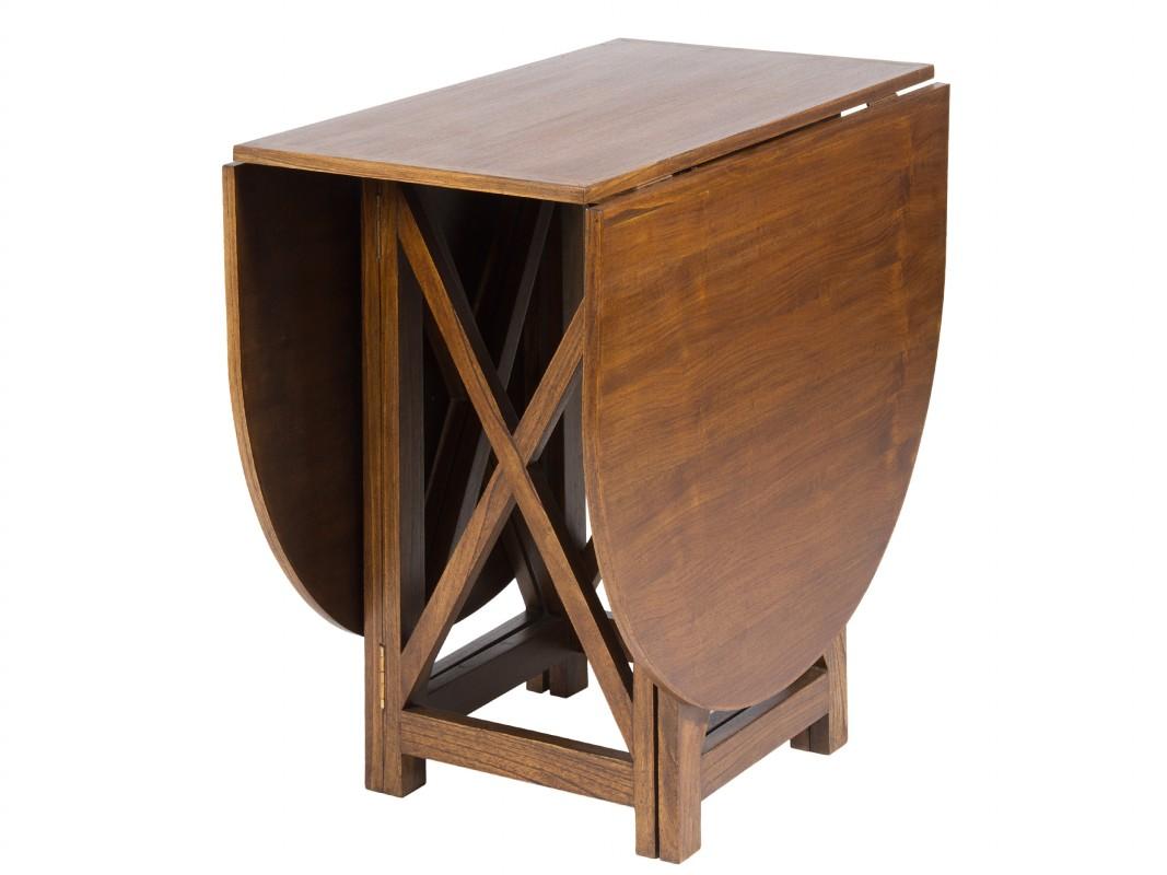 mesa libro de madera color nogal - mesas salón comedor