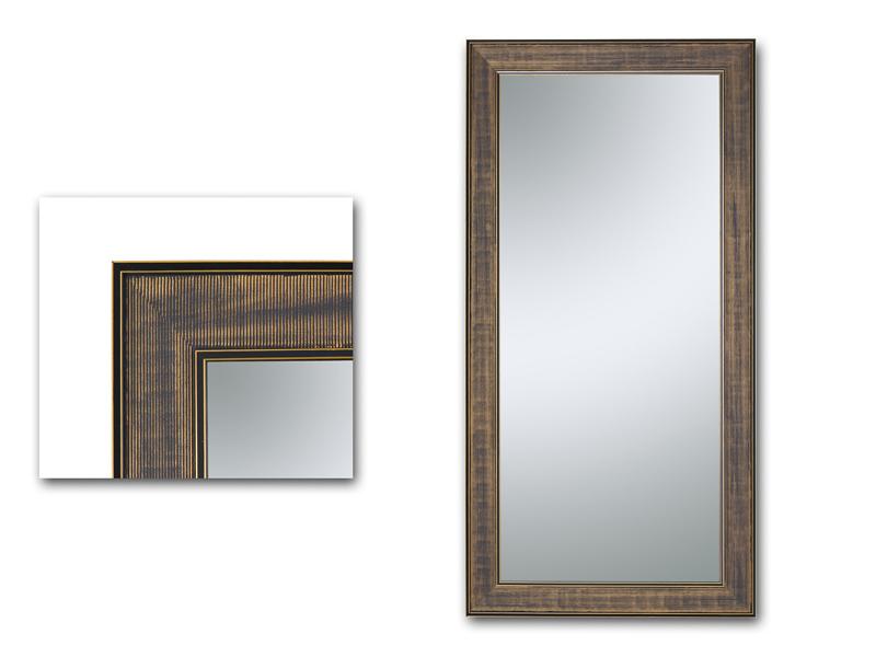 espejo vertical marco negro y dorado