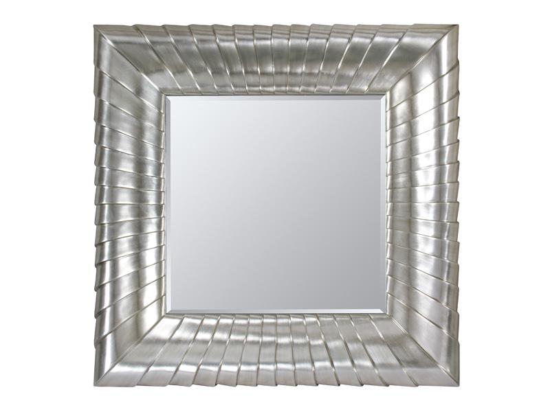 Espejo con marco rayado plata for Espejos con marco color plata