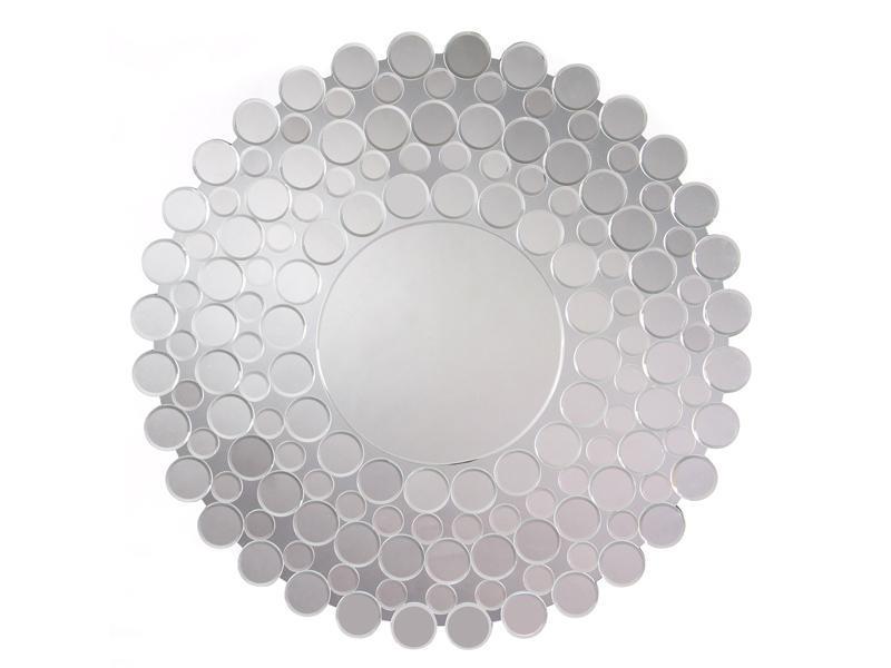 Espejo veneciano redondo con marco de círculos de cristal