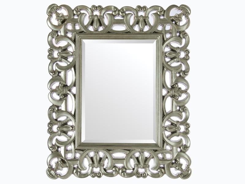 Espejo barroco con marco de resina plata for Espejos con marco color plata