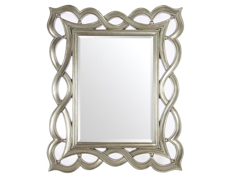 Espejo cl sico plateado con marco de resina for Espejo rectangular plateado