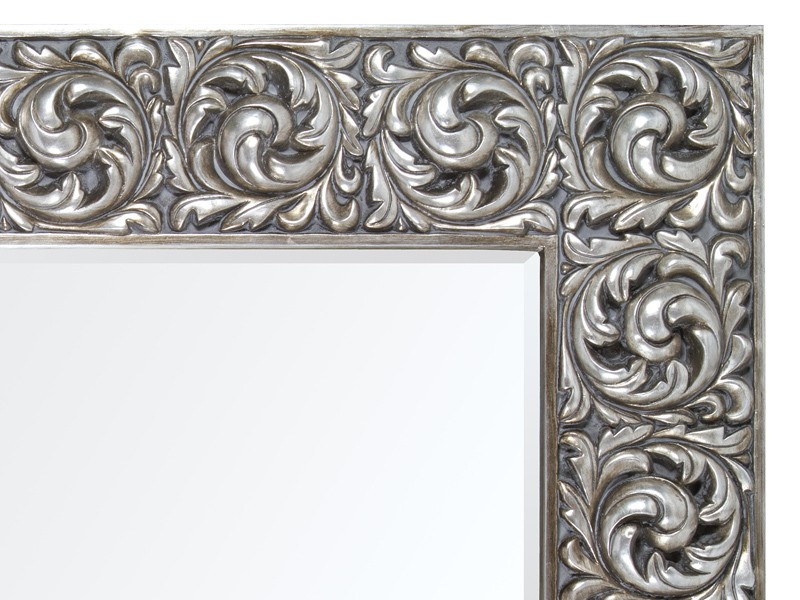 Espejo vintage plateado estilo barroco espejos decorativos for Espejo plateado grande