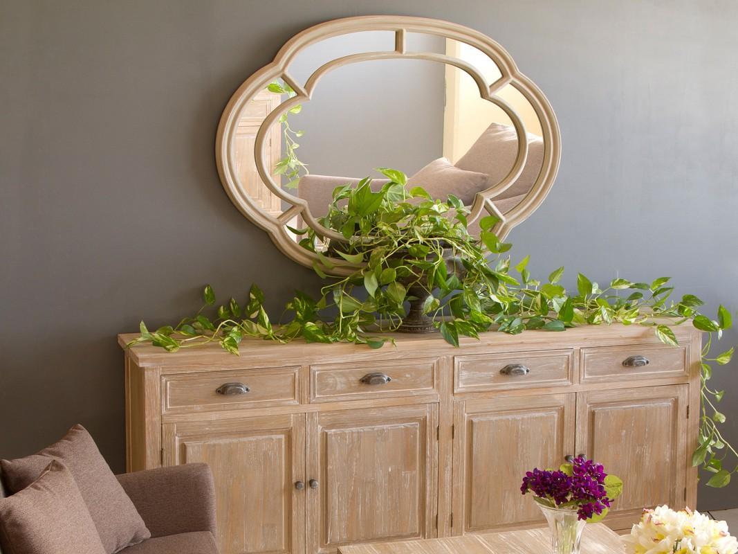 Espejo vintage ovalado de resina y madera color topo - Espejos de resina ...