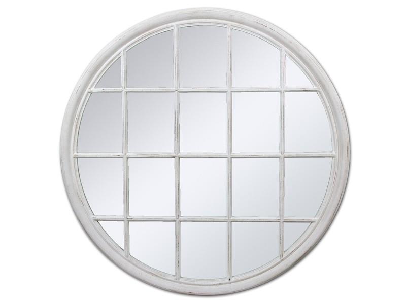 Espejo redondo vintage con cuarterones de madera envejecida for Espejo redondo con marco