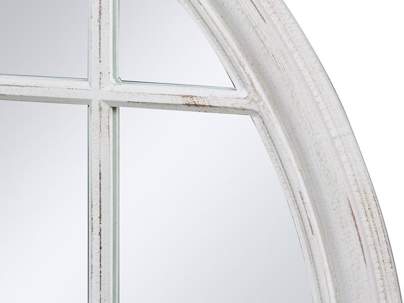 Espejo redondo vintage con cuarterones de madera envejecida for Espejo madera envejecida