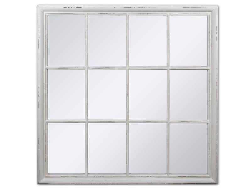 Espejo con cuarterones de madera decadapada estilo vintage for Espejos cuadrados grandes