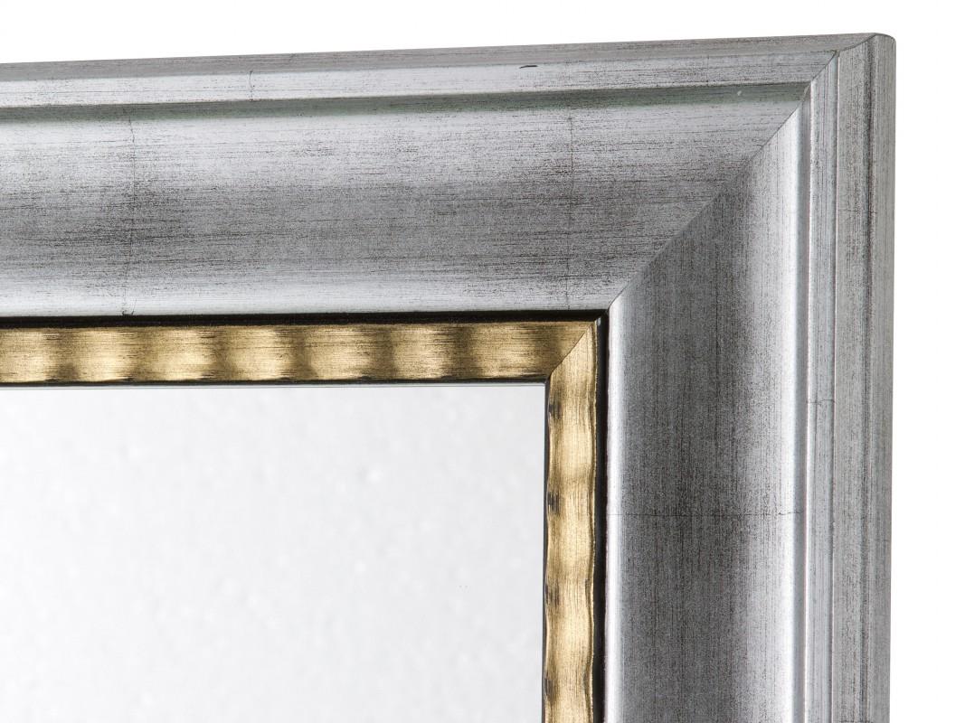 Espejo con marco lacado plateado y dorado de madera de pino - Espejos marco plateado ...