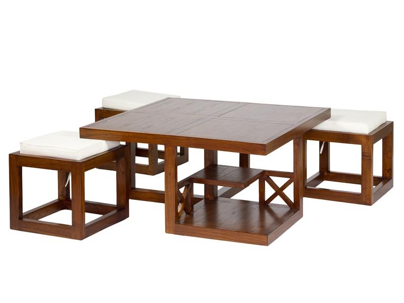 Juego mesa auxiliar sal n y 3 taburetes apilables for Sillas apilables salon
