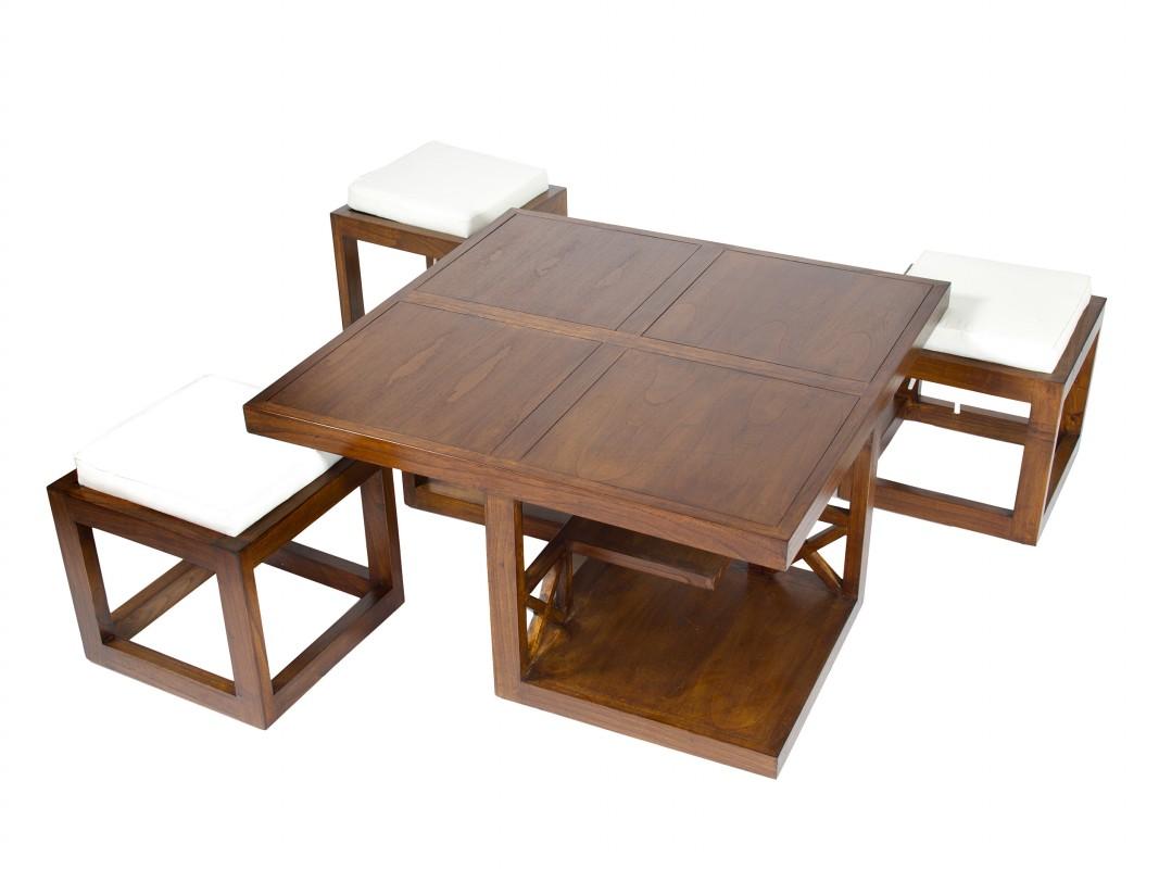 Juego mesa auxiliar sal n y 3 taburetes apilables for Mesa auxiliar salon