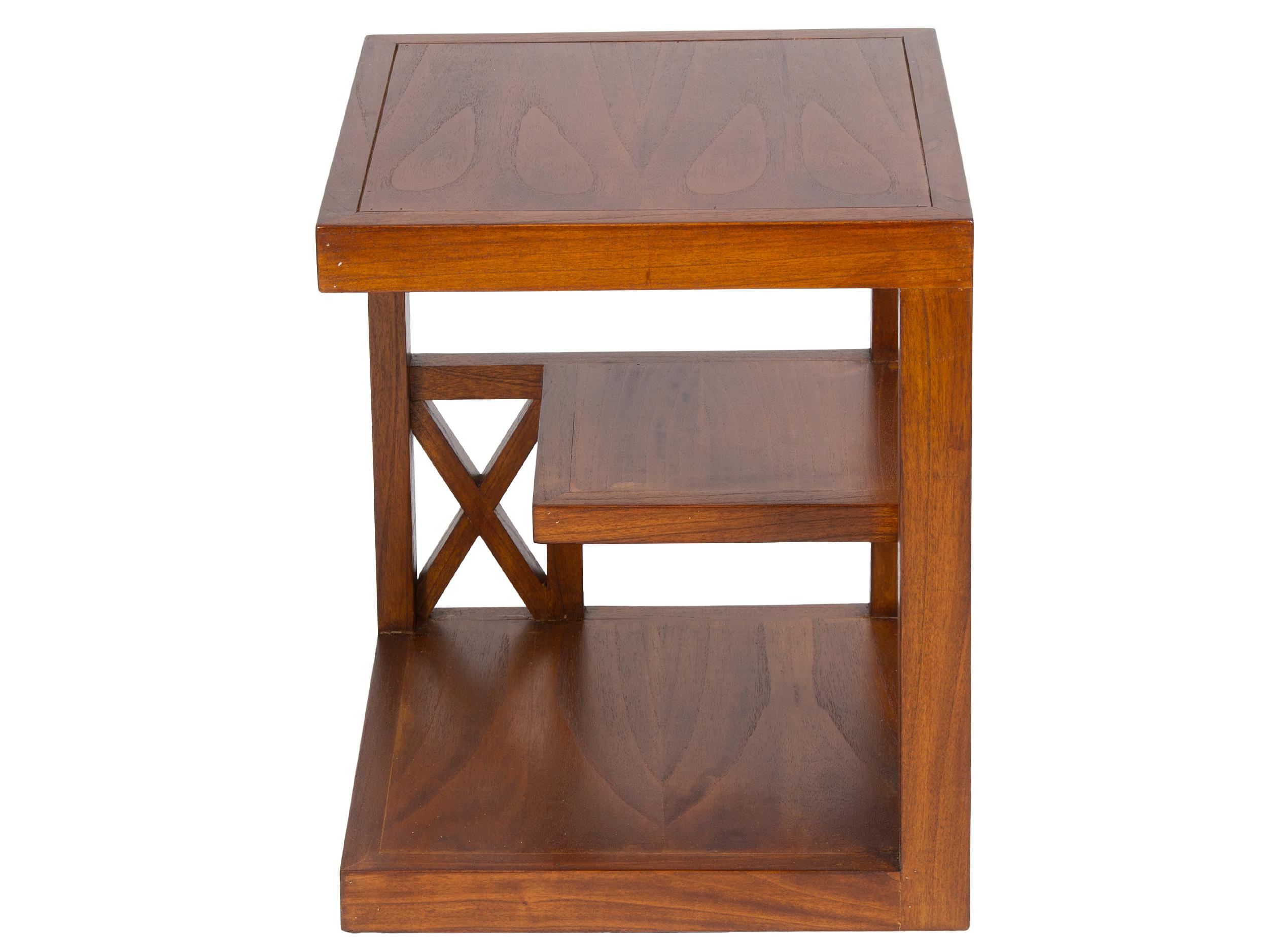Mesa rinconera con estantes madera de acacia color nogal - Rinconeras de madera ...