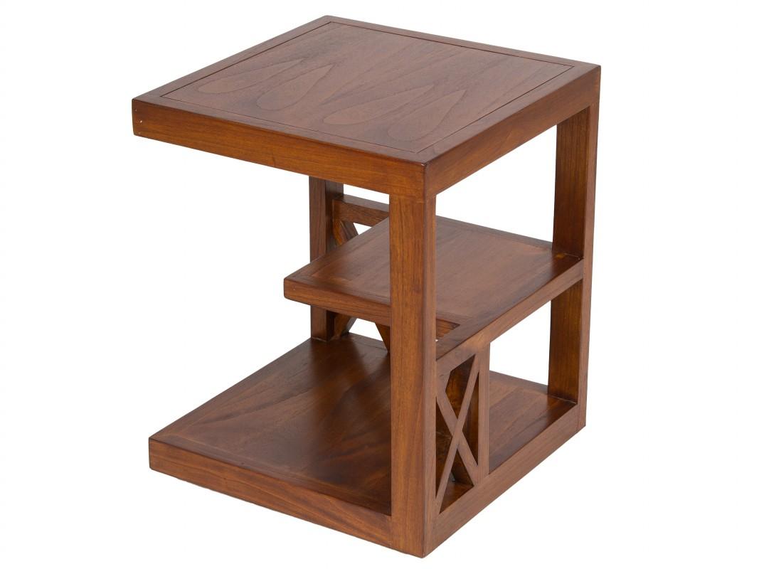 Mesa rinconera con estantes madera de acacia color nogal for Mesas esquineras de madera