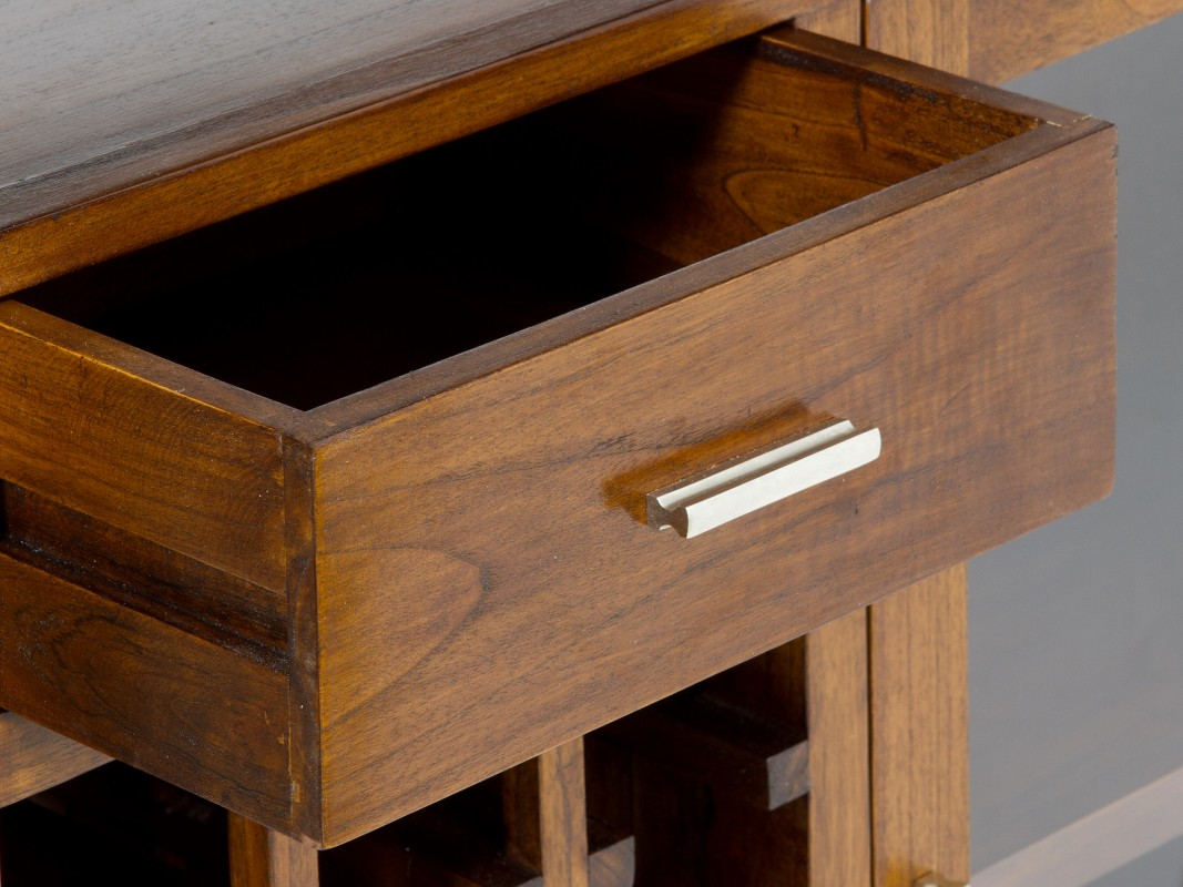 Mueble bar para sal n comedor en madera de estilo r stico for Mueble bar salon