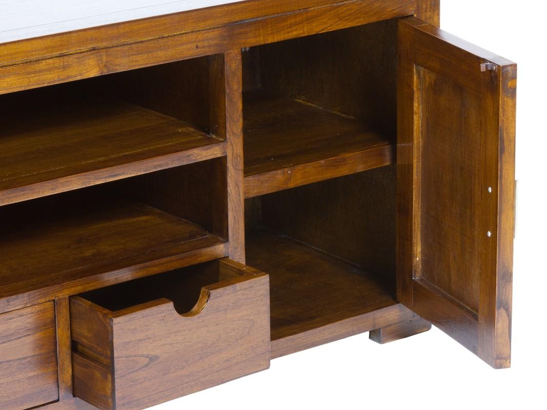Mueble bajo para tv de madera con 2 puertas estilo r stico for Mueble de madera