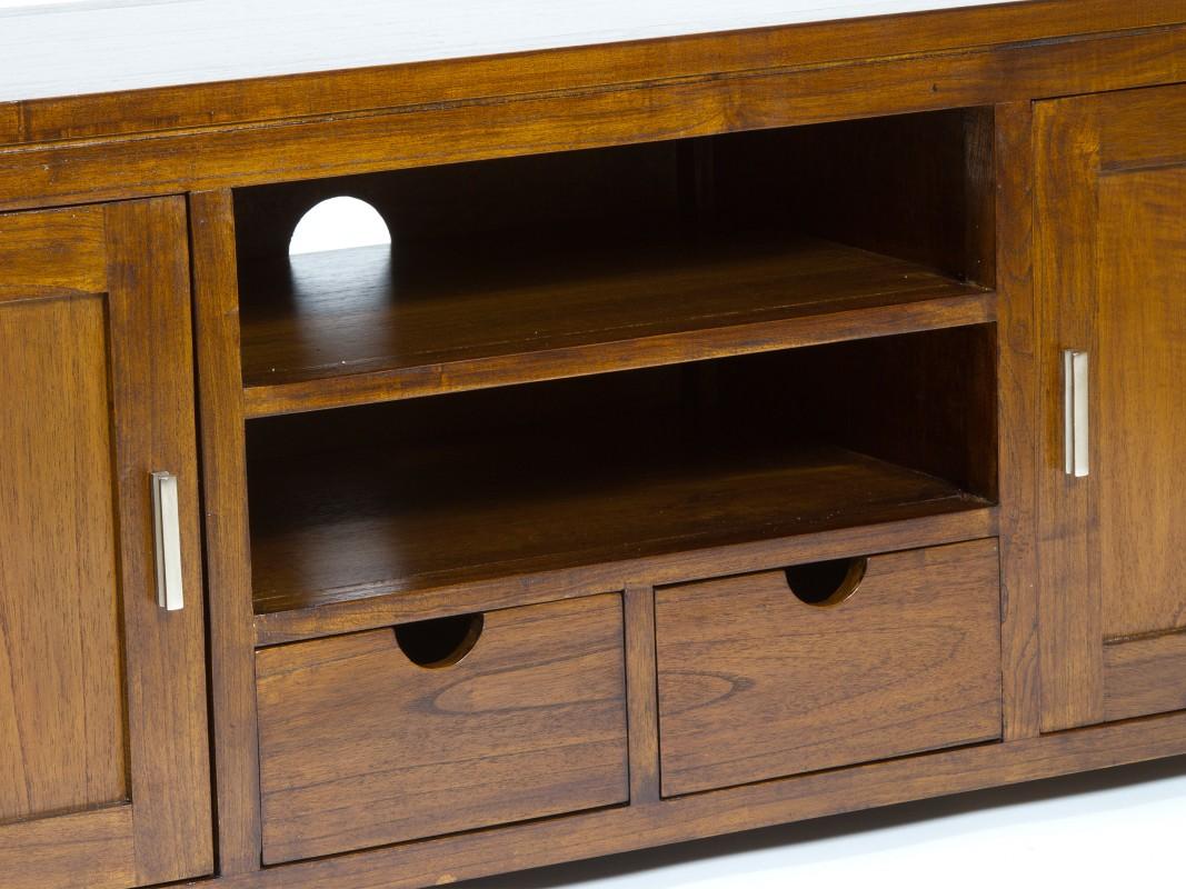 Mueble bajo para tv de madera con 2 puertas estilo r stico for Muebles modulares madera