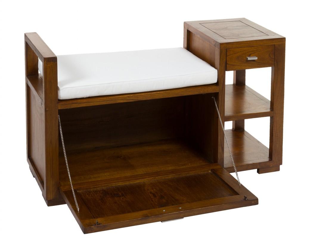 Banco ba l de madera con caj n y estantes pies de cama for Pie de cama xxl