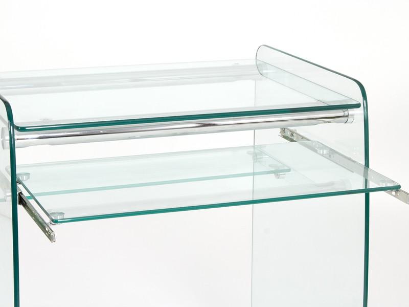 Mesa ordenador peque a de cristal transparente escritorios - Mesas de salon de cristal ...