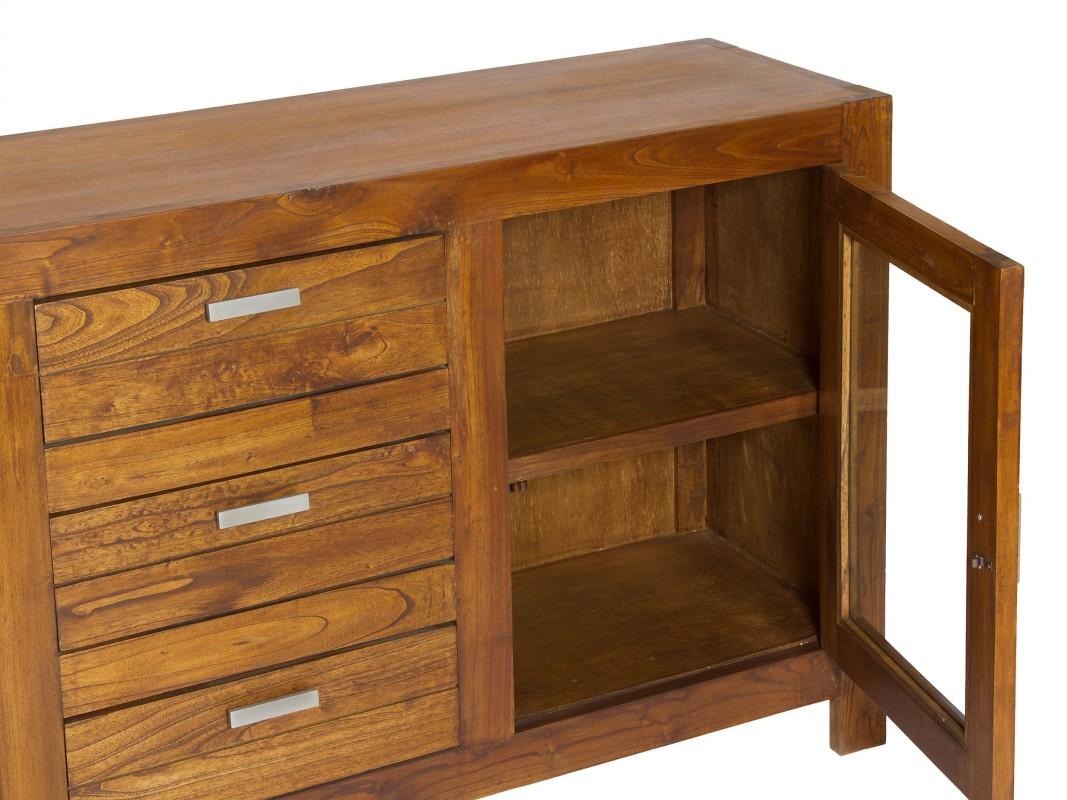 Aparador colonial de madera con 2 puertas y 3 cajones - Muebles de madera baratos ...