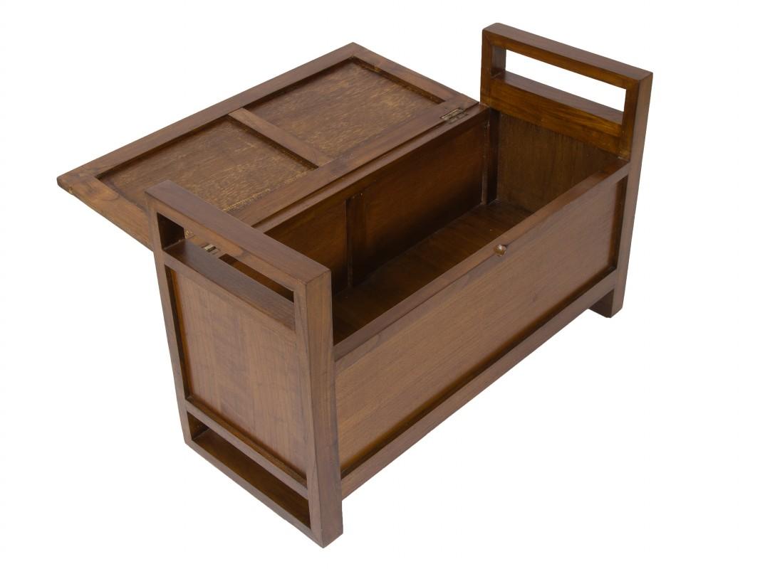 Banco baulero de madera con coj n bancos decorativos for Bancos de jardin con almacenaje