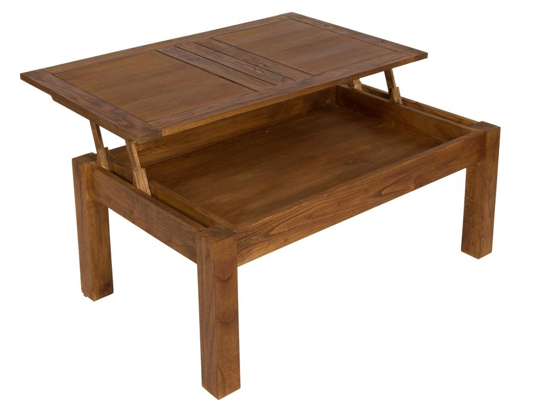 Mesa de centro elevable de madera de mindi muebles sal n for Mesas de salon de madera