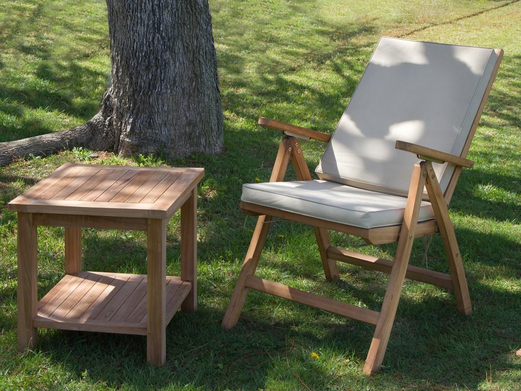Silla terraza reclinable de madera de teca cat logo jard n for Catalogo de sillas de madera