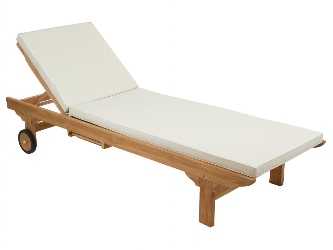 Tumbona de madera con ruedas y coj n muebles para jard n for Tumbona colgante