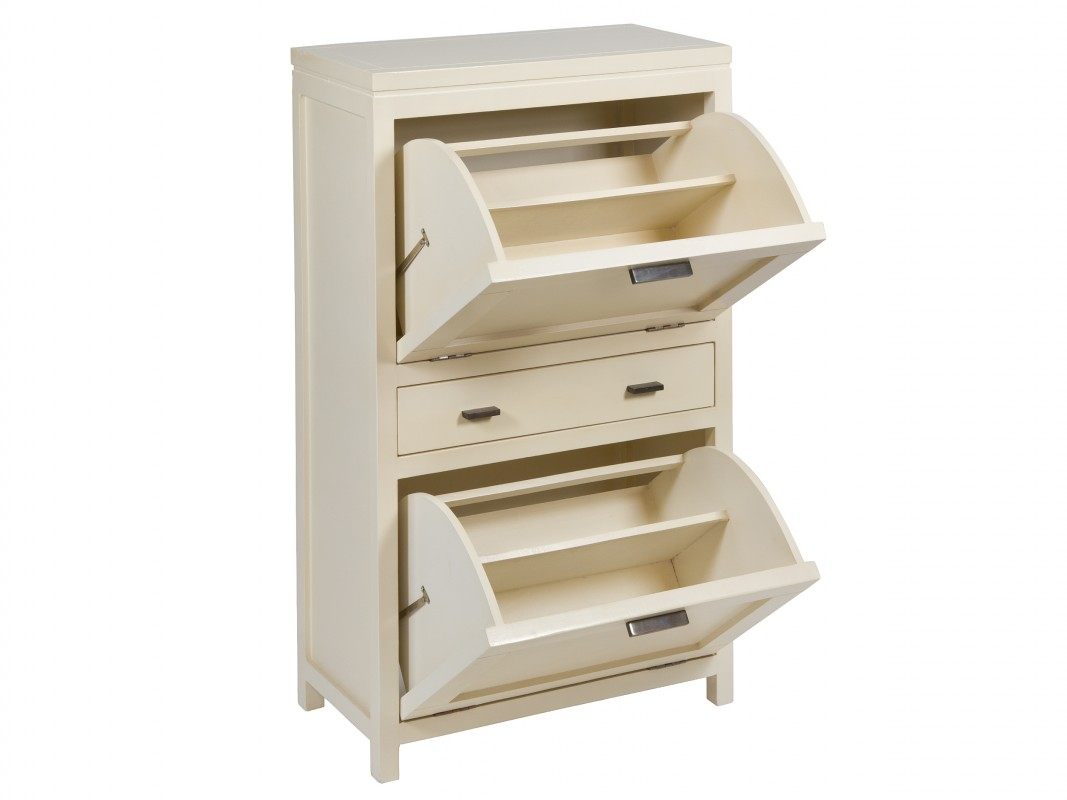 Mueble zapatero blanco con puertas abatibles y caj n central for Zapatero 40 cm ancho