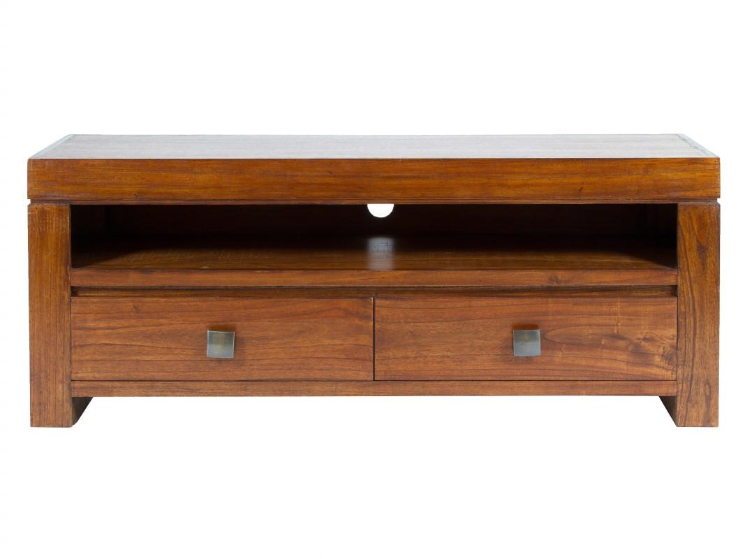 Mueble tv colonial de madera natural con cajones y estante for Muebles tipo colonial