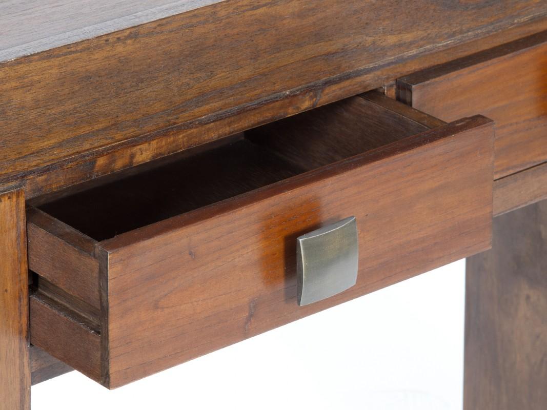 Consola de madera con 2 cajones de estilo colonial for Zapatero color nogal