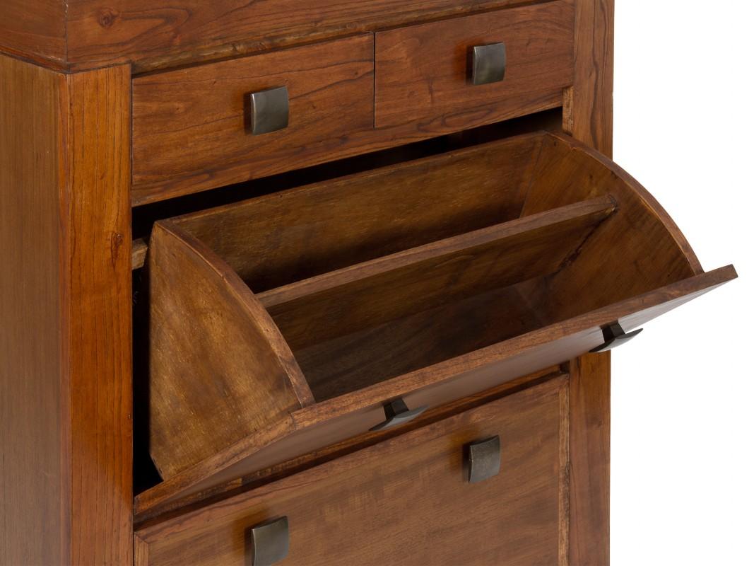Mueble zapatero colonial color nogal con puertas abatibles for Zapatero color madera