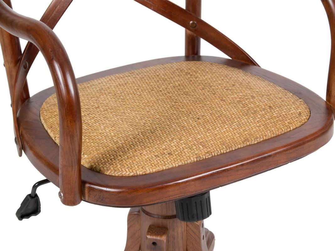 Silla despacho cl sica de madera y rattan sillas oficina for Silla giratoria para escritorio