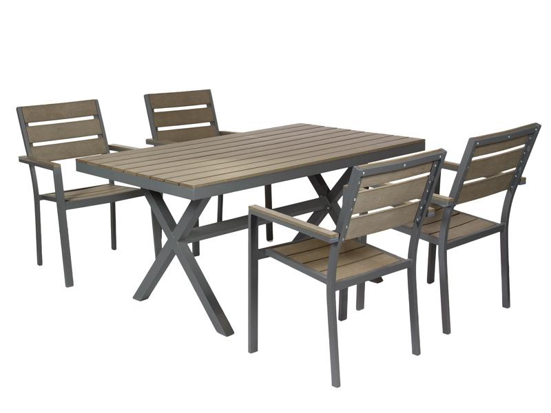 Mesa y 4 sillas de exterior de aluminio y fibra sint tica - Sillas exterior baratas ...