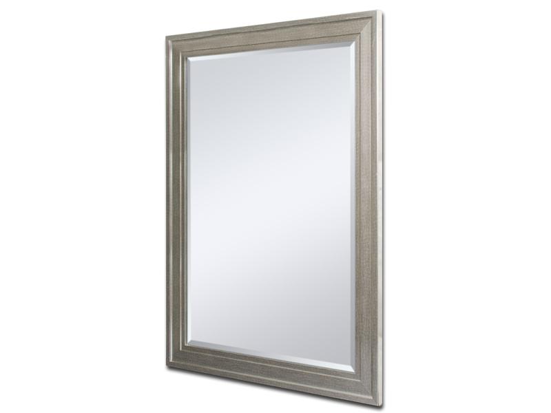 Espejo vertical marco grabado plata for Espejo gris plata