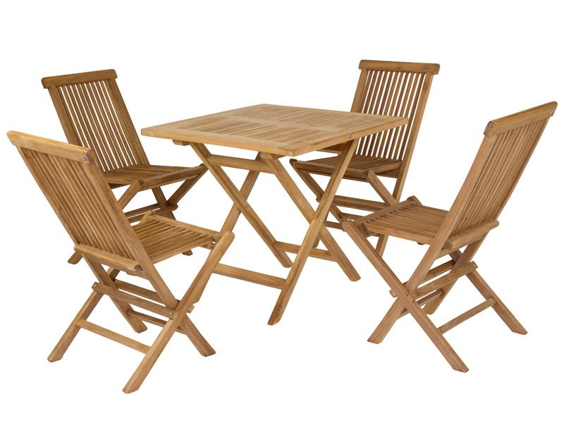 Mesa plegable y 4 sillas de jard n de madera de teca for Sillas de jardin plegables