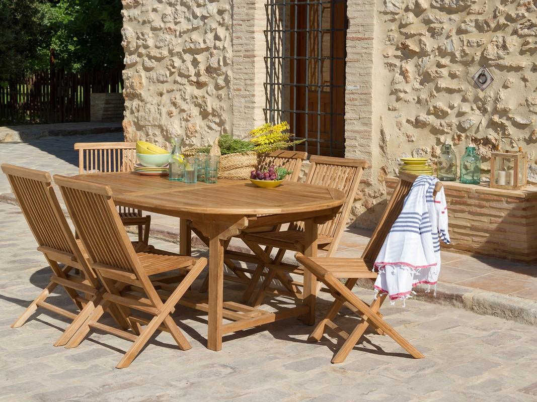 Mesa terraza extensible y 6 sillas de madera de teca - Mesas de terraza extensibles ...