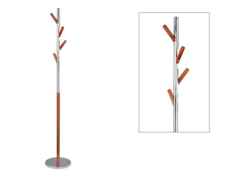 Perchero de pie de metal cromado y madera con forma de rbol for Percheros de metal