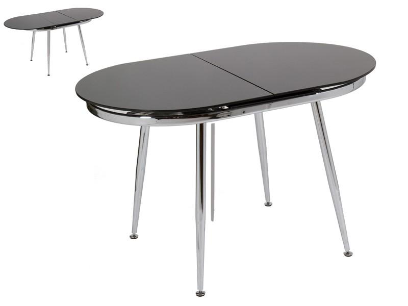 Mesa cristal negro extensible con patas de acero cromado for Mesa comedor cristal negro