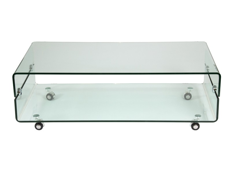 Mesa de centro de vidrio transparente con ruedas - Mesas con ruedas para tv ...