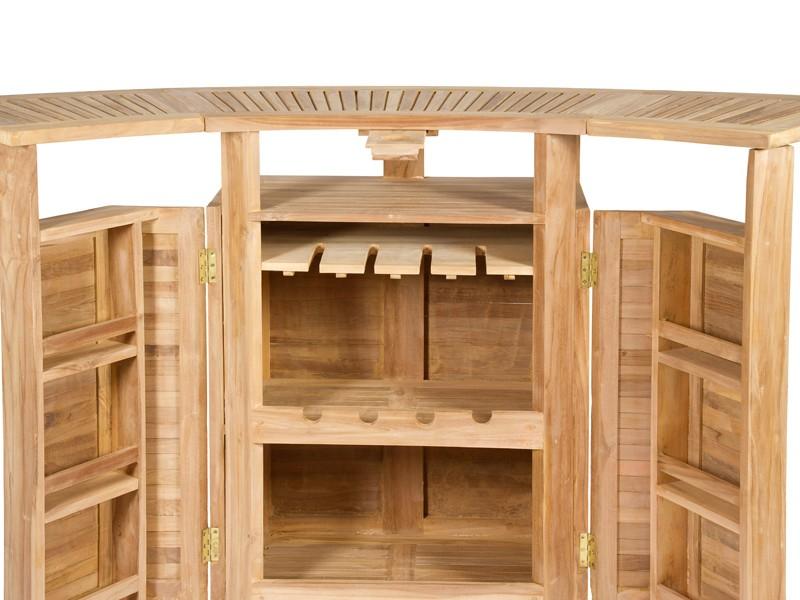 conjunto terraza bar de madera de teca con sombrilla