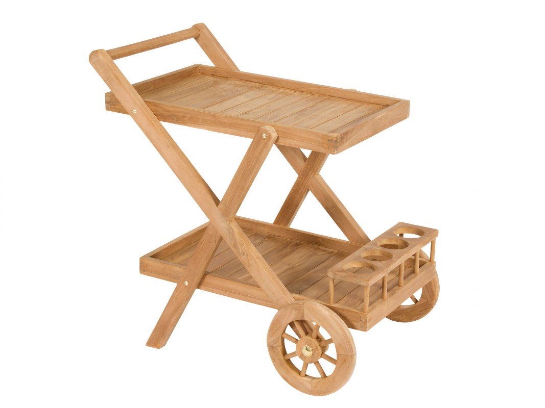 Carrito camarera de madera de teca para terraza exterior for Carros de madera para jardin