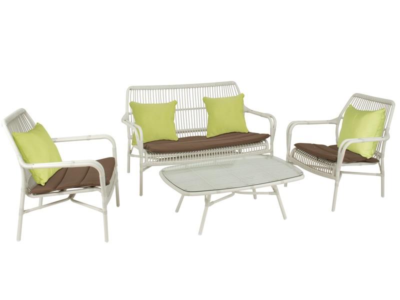 Conjunto de terraza mesa y 3 sillones aluminio y rattan for Conjunto terraza rattan