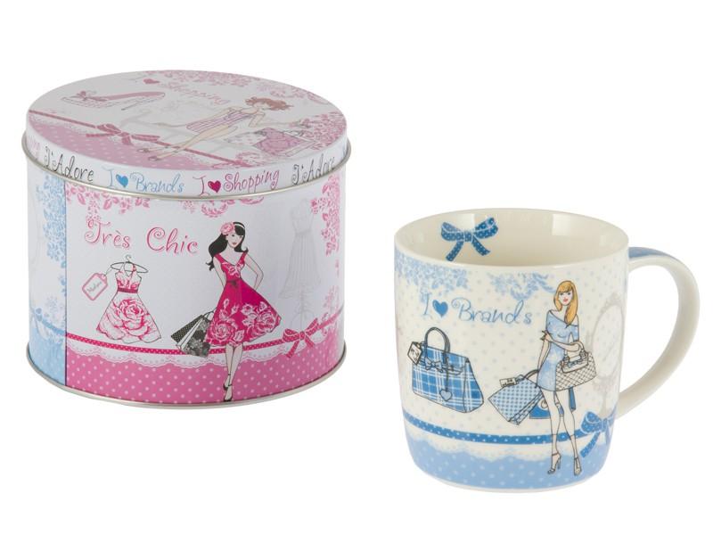Taza desayuno de porcelana con caja brands azul tazones for Tazas porcelana