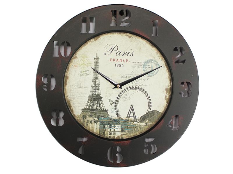 Reloj de pared vintage par s marr n y crema - Reloj para pared ...