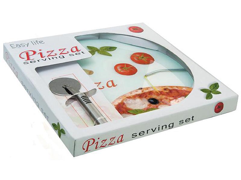 Plato pizza de cristal con cortapizza art culos de menaje for Articulos de menaje