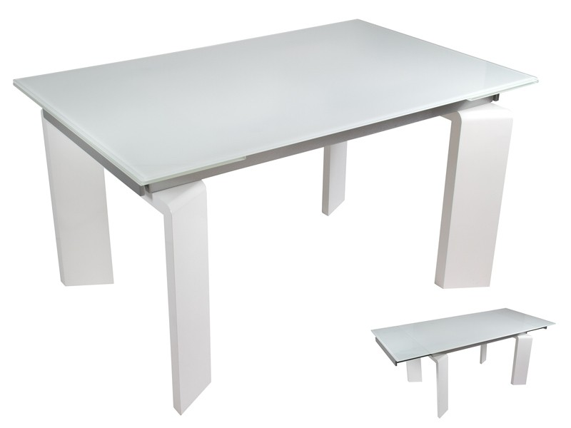 Mesa sal n extensible blanca con tablero de cristal - Mesa cristal salon ...