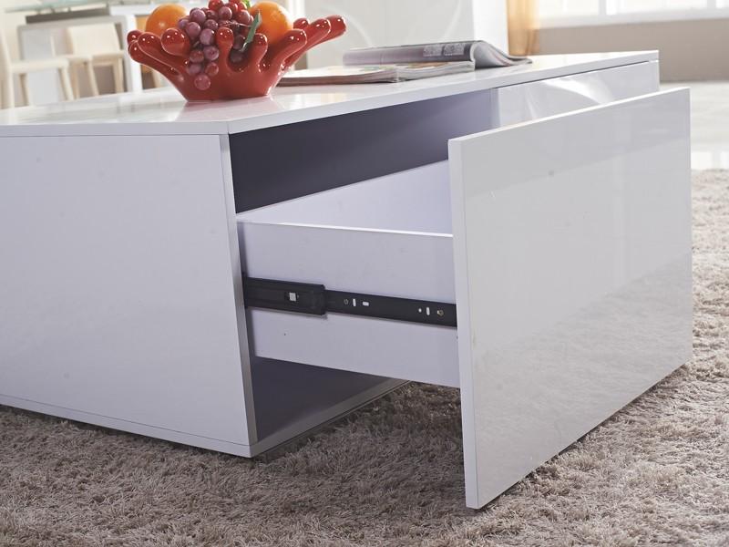 Mesa centro blanca lacada de dise o con cajones mdf y acero for Mesa de centro blanca