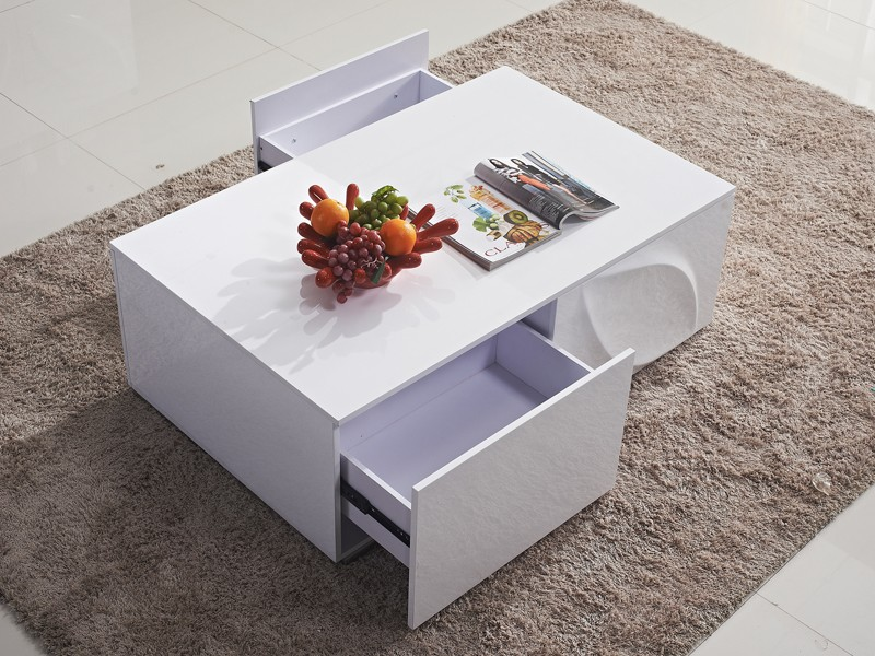 Mesa centro blanca lacada de dise o con cajones mdf y acero - Mesas con cajones ...