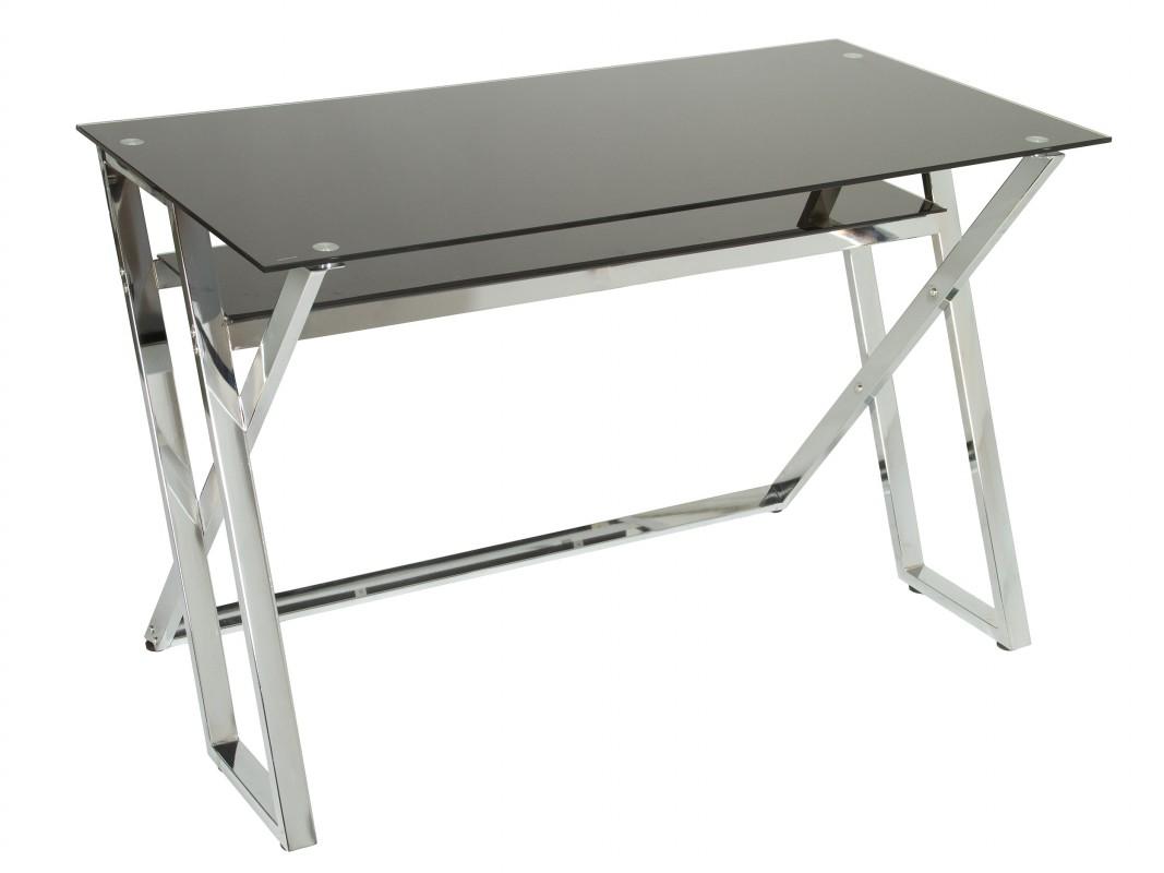 Mesa escritorio cristal negro y metal mesas de trabajo for Mesa cristal oficina